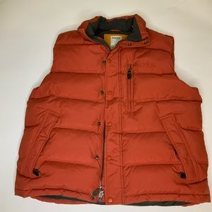 Timberland down vest XL zipper and snap front rust